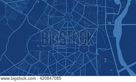 Dark Blue Delhi City Area Vector Background Map, Streets And Water Cartography Illustration. Widescr