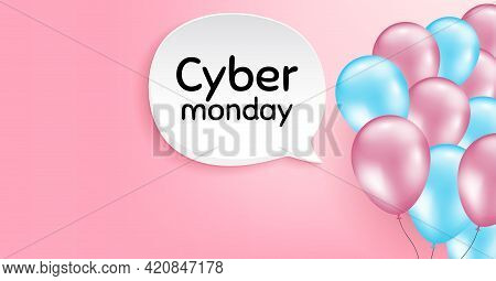 Cyber Monday Sale. Pink Balloon Vector Background. Special Offer Price Sign. Advertising Discounts S