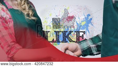 Digital wave over mid section of business people shaking hands against like text and thumbs up icon. social media networking and business technology concept