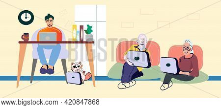 Senior Couple Male And Female Characters Sitting At Table Ignore Each Other Chatting In Internet. So