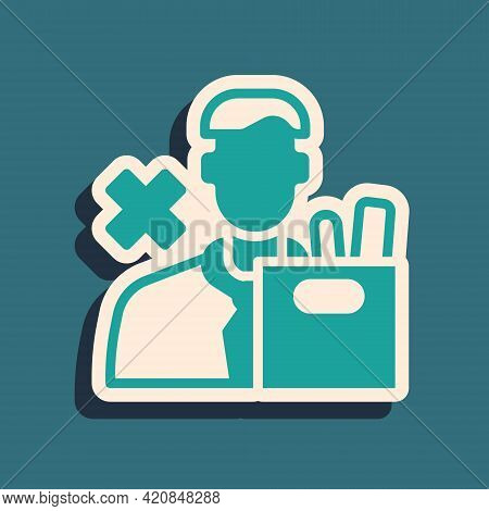 Green Dismissed Sad Young Man Carrying Box With His Personal Belonging Leaving His Job Icon Isolated