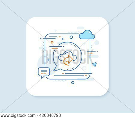 Cloud Computing Share Line Icon. Abstract Square Vector Button. Internet Data Storage Sign. File Hos