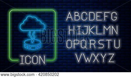 Glowing Neon Storm Icon Isolated On Brick Wall Background. Cloud And Lightning Sign. Weather Icon Of