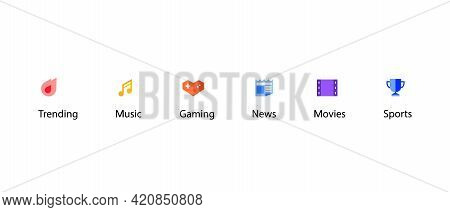 Icon Set Of Channel. Trending, Music, Gaming, News, Movies, And Sports. Vector Illustration