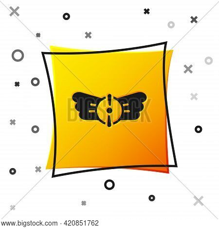 Black Aviation Emblem Icon Isolated On White Background. Military And Civil Aviation Icons. Flying E