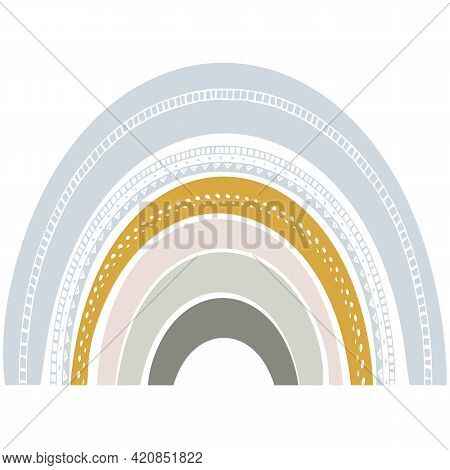 Cute Rainbow In Scandinavian Style. Watercolor Effect Rainbow Isolated On A White Background. Modern