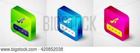 Isometric Plane Takeoff Icon Isolated On Grey Background. Airplane Transport Symbol. Square Button.