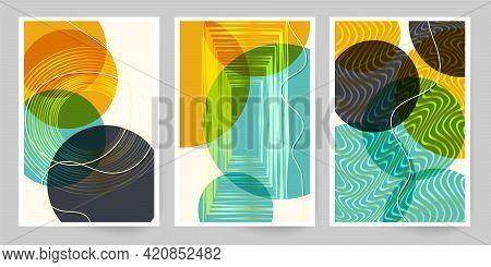 60s Art Canvas. Set Of Geometric Shapes And Lines. Imitation Watercolor Painting Texture Brochure De