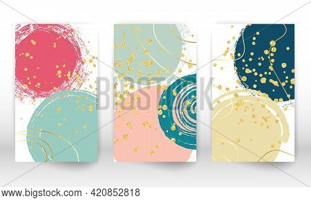 Modern Art Painting. Geometric Shapes And Lines. Minimalist Hand Painted Shapes, Gold Particles. Mod