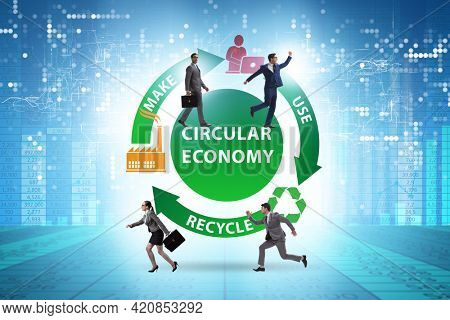 Concept of circular economy with business people