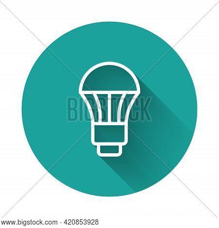 White Line Led Light Bulb Icon Isolated With Long Shadow Background. Economical Led Illuminated Ligh
