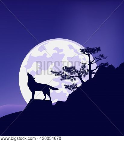 Wild Wolf Standing At Rock Cliff With Conifer Tree Howling At Full Moon - Wilderness Scene Vector Si