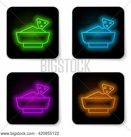 Glowing Neon Line Nachos In Bowl Icon Isolated On White Background. Tortilla Chips Or Nachos Tortill