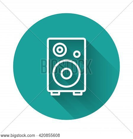 White Line Stereo Speaker Icon Isolated With Long Shadow Background. Sound System Speakers. Music Ic