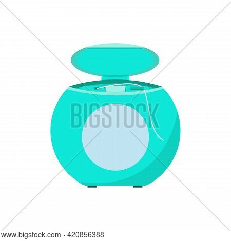 Dental Floss. Dental And Oral Hygiene. Flossing Your Teeth After Eating. Vector Illustration Of A Fl