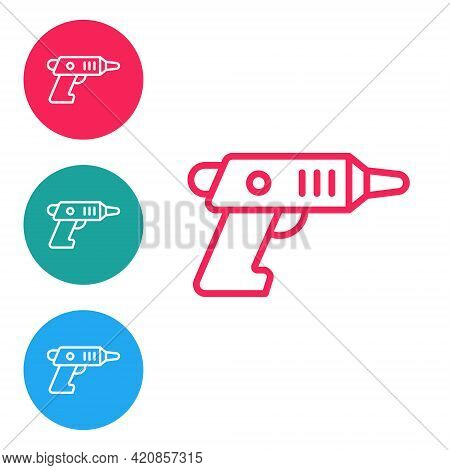 Red Line Electric Cordless Screwdriver Icon Isolated On White Background. Electric Drill Machine. Re