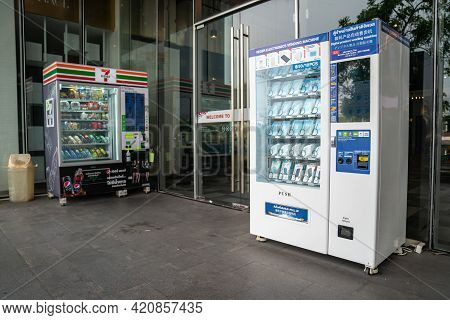 Bangkok, Thailand - 30 April, 2021: Hygiene And Fashion Face Mask In The Automatic Vending Machine I