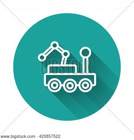 White Line Mars Rover Icon Isolated With Long Shadow Background. Space Rover. Moonwalker Sign. Appar