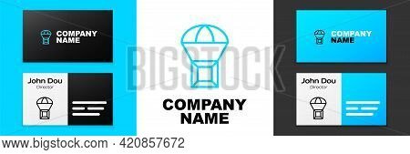 Blue Line Box Flying On Parachute Icon Isolated On White Background. Parcel With Parachute For Shipp