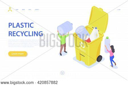 The Concept Of Recycling Plastic Waste. Man And Woman Collect Plastic Trash In The Trash. The Proble