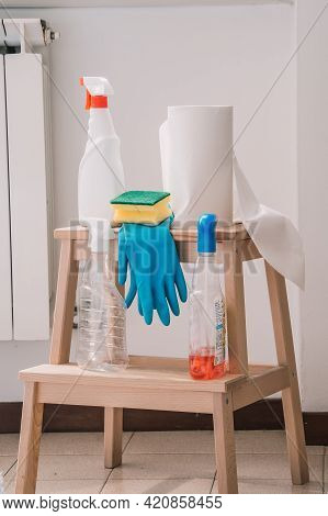 Cleaning Set For Windows, Different Surfaces In Kitchen, Bathroom And Other Rooms. Spring Regular Cl