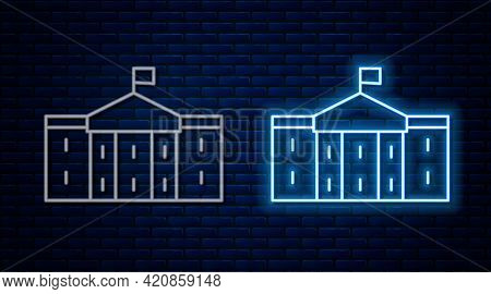 Glowing Neon Line United States Capitol Congress Icon Isolated On Brick Wall Background. Washington