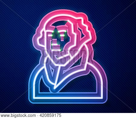 Glowing Neon Line George Washington Icon Isolated On Blue Background. Vector