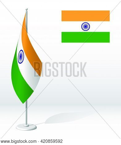 Flag Of India On Flagpole For Registration Of Solemn Event, Meeting Foreign Guests. National Indepen