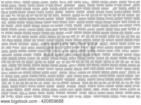 Brickwork Gray And White Vector Grunge Background. White Silicate Brick Wall. Brick Grunge Texture.