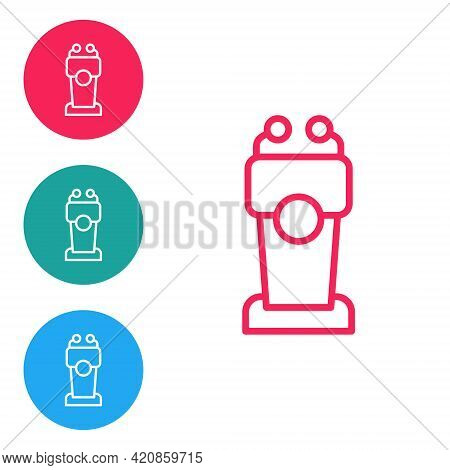 Red Line Stage Stand Or Debate Podium Rostrum Icon Isolated On White Background. Conference Speech T