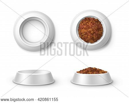 Realistic Feed Bowl, Pet Food Plates 3d Vector Mockup Front And Top View. Blank Full And Empty Crock