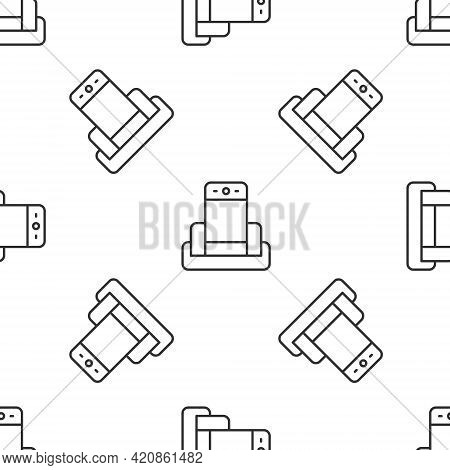 Grey Line Metal Detector In Airport Icon Isolated Seamless Pattern On White Background. Airport Secu
