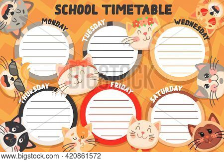 School Timetable Schedule Funny Cats And Kittens. Education Vector Weekly Planner Template With Cute