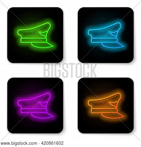 Glowing Neon Line Pilot Hat Icon Isolated On White Background. Black Square Button. Vector