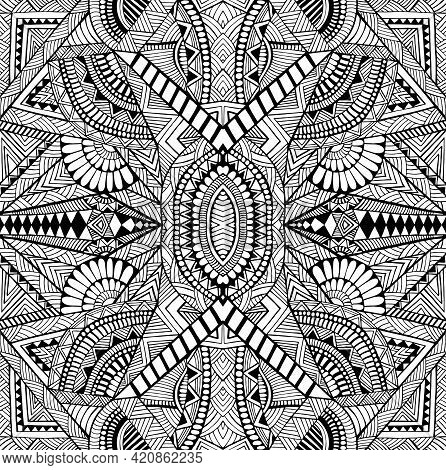 Geometric Abstract Psychedelic Black And White Decorative Intricate Pattern With Many Detail And Lin