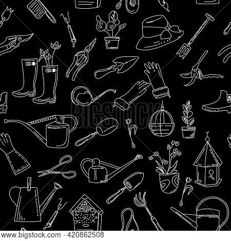 Gardening Equipment And Tools Seamless Pattern In Doodle Style. Hand Drawn Set On Black Background F