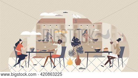 Food Court Restaurants And Lunch Cafe As Meal Catering Service Tiny Person Concept. Fast Food Cafete