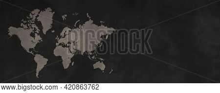 World Map Isolated On Black Concrete Wall Background. Horizontal Banner