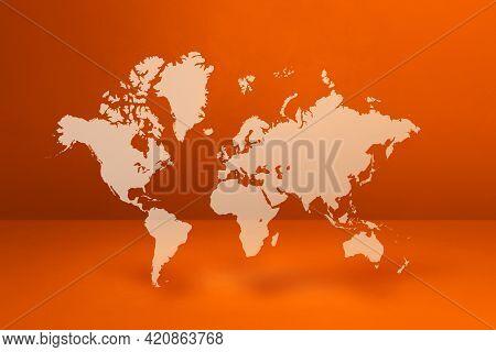 World Map Isolated On Orange Wall Background. 3d Illustration
