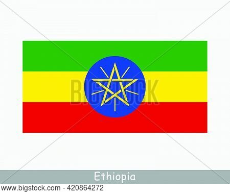 National Flag Of Ethiopia. Ethiopian Country Flag. Federal Democratic Republic Of Ethiopia Detailed