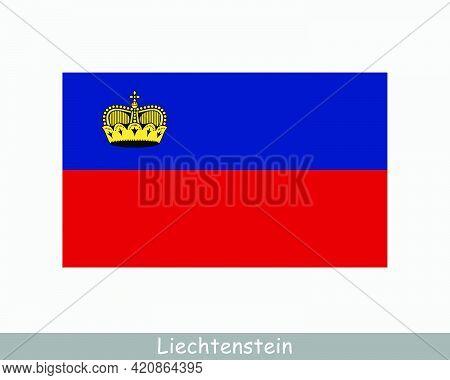 National Flag Of Liechtenstein. Principality Of Liechtenstein Country Flag Detailed Banner. Eps Vect