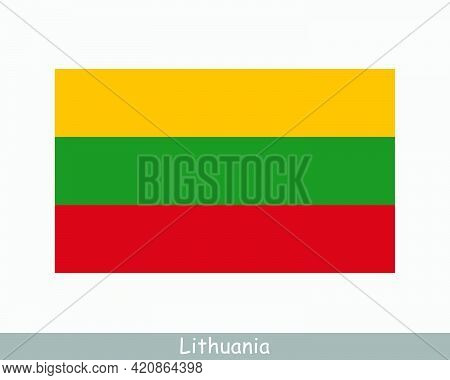 National Flag Of Lithuania. Lithuanian Country Flag. Republic Of Lithuania Detailed Banner. Eps Vect