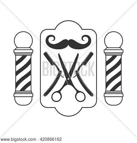 Barber Shop Logo Template. Moustache And Barber Tools Graphic Sign Isolated On White Background. Bar