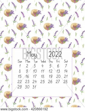 Calendar Page The Year 2022 For May Watercolor Floral Seamless Illustration, Printable Page, Hand Dr