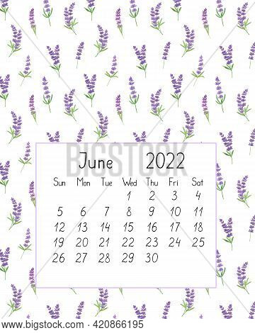 Calendar Page The Year 2022 For June Watercolor Floral Seamless Illustration, Printable Page, Hand D