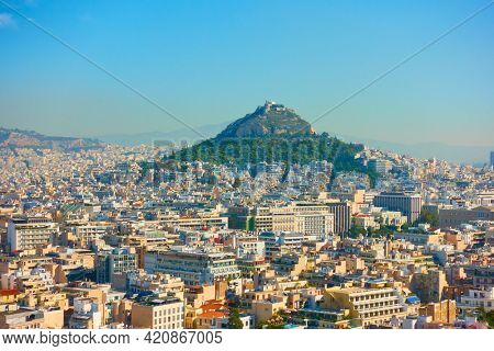 Panoramic view of Athens city. and Mount Lycabettus, Greece. Cityscape