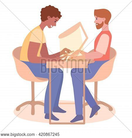 Man Nail Master Professional, Worker Sitting On Salon Table With Client