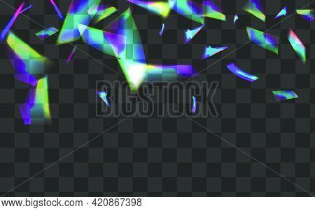 Iridescent Glitter Vector Transparent Background. Holo Lens Dreamy Border. Light Flash Digital Templ