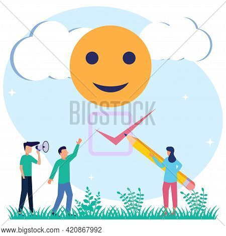 Vector Illustration.choosing A Symbol With A Positive Smile. Choosing A Happy Attitude For Office Pe