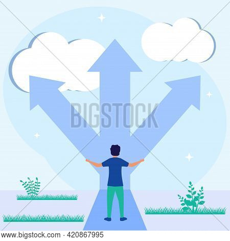 Flat Style Vector Illustration. Intersection As A Choice Of Business Strategy And A Choice Of Future